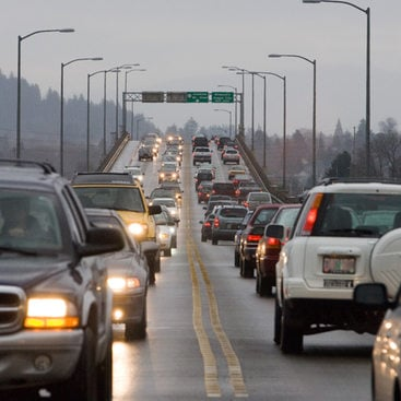 photo of traffic on a freeway bridge