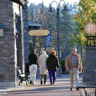 photo of pedestrians in downtown Lake Oswego
