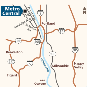 map of Metro Central transfer station