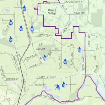 partial view of the Connect the Drops map for Clackamas County