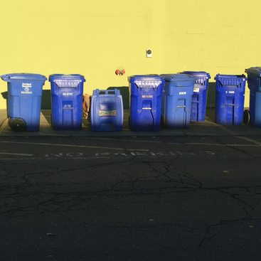 image of recycling bins at curb