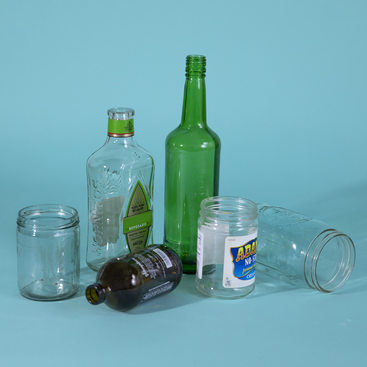 several examples of glass containers that can be recycled at home