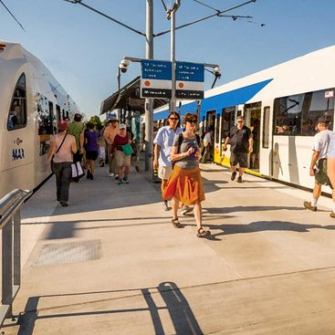 rendering of future Southwest Corridor light rail station