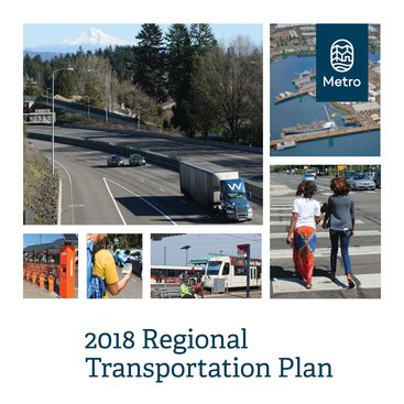 Cover of regional transportation plan; collage of transportation photos