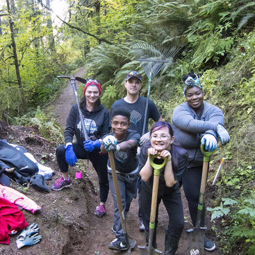 Project picture for Forest Park Conservancy program of young people restoring hiking trails in Forsest Park