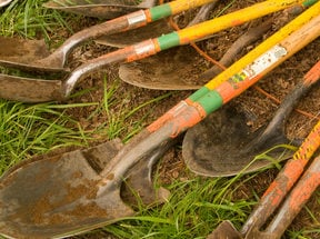 photo of shovels from a work party