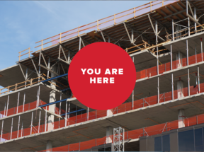 You are here -- building construction background