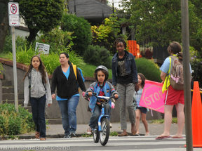 Kids biking and walking to school. Credit: Jonathan Maus