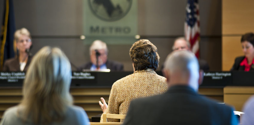 photo of public testimony at a Metro Council meeting