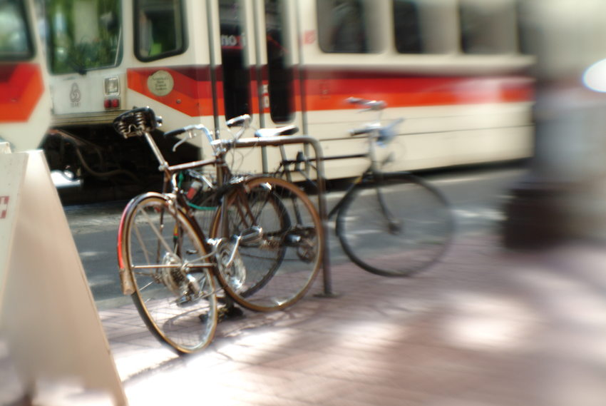 photo of bicycles and Max train