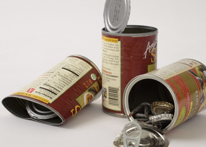 photo of tin cans ready to be recycled