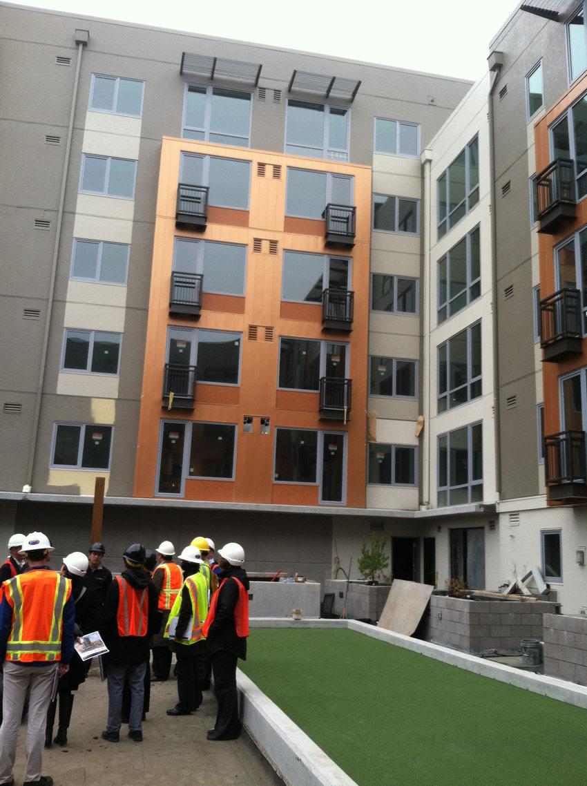 photo of a construction tour at the Prescott Apartments