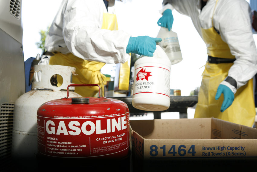 photo of a gas can and other flammable liquids