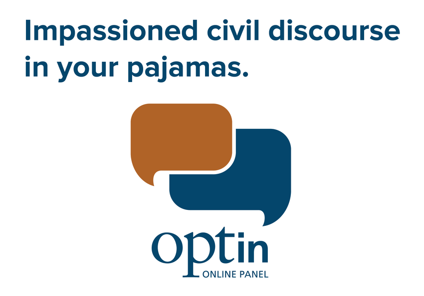 "pictogram for Opt In titled ""impassioned civil discourse in your pajamas"""