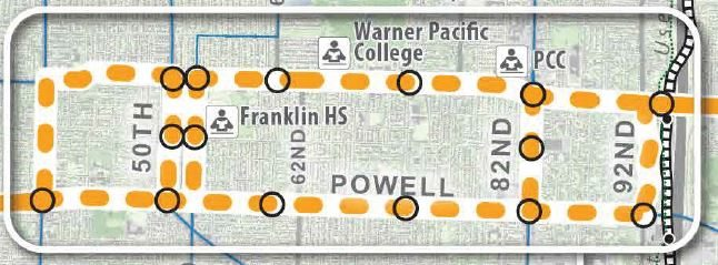 Detail of Portland route options