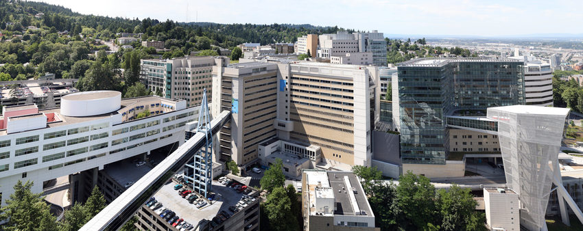 Hospitals atop Marquam Hill in Portland