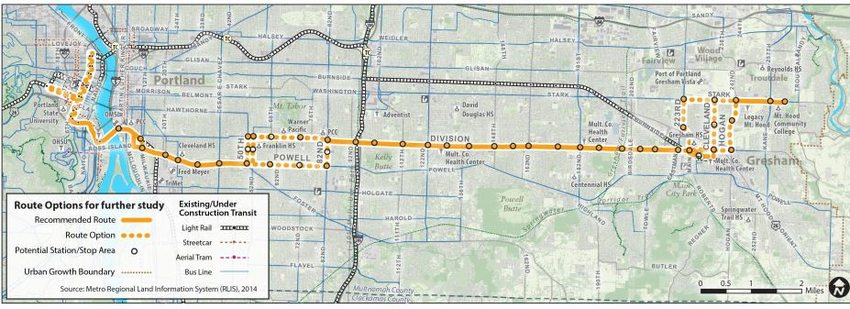 Powell-Division BRT options map as of June 2015
