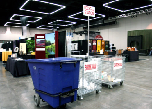 Recycling bins at the Oregon Convention Center