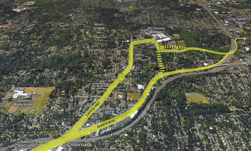 Aerial view of PCC transit options