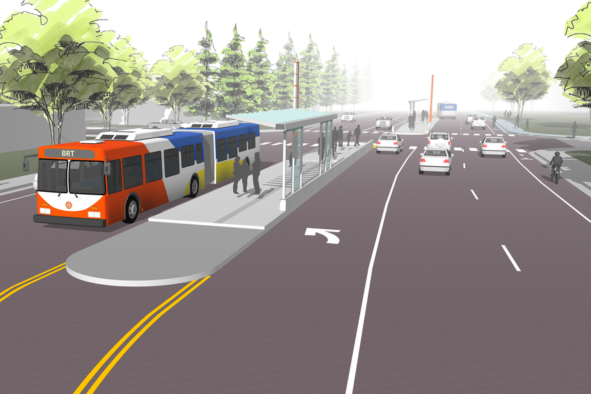 rendering of Gresham transit option
