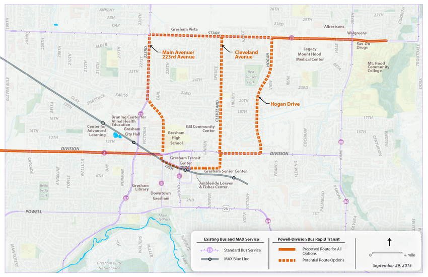 map of Gresham route options