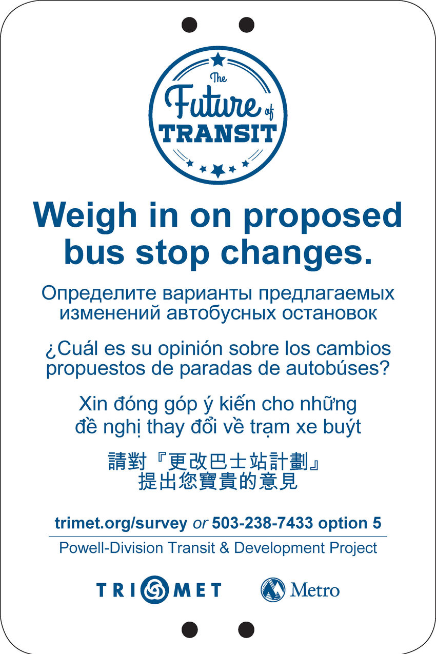Bus stop sign for Powell-Division survey