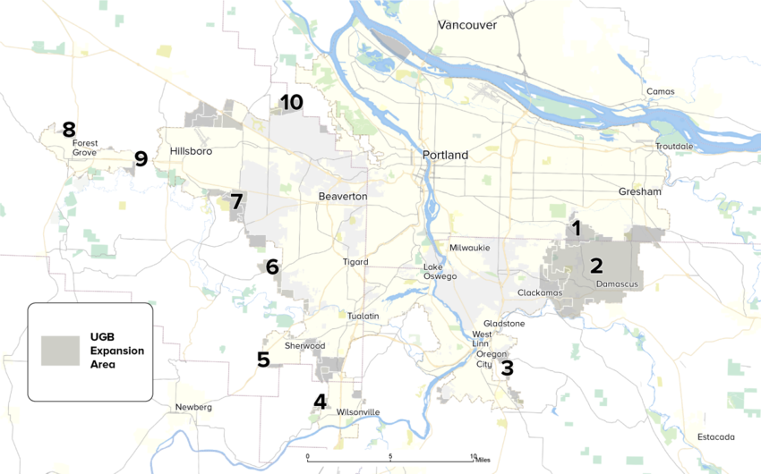 A map showing UGB expansion areas in the Portland region