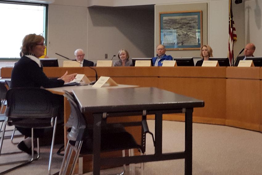 Denise Frisbee testifies at the Southwest Corridor steering committee meeting, May 9, 2016