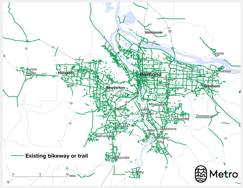 Completed bikeways in the Portland region