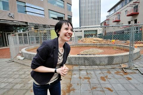 Michelle Delk at One City Plaza, Greenville, S.C. Courtesy GreenvilleOnline.com