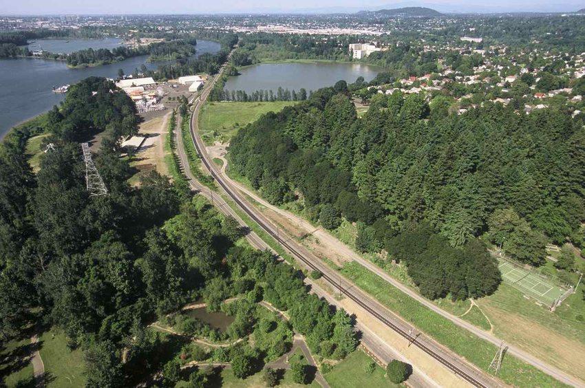 aerial photo of Springwater Corridor