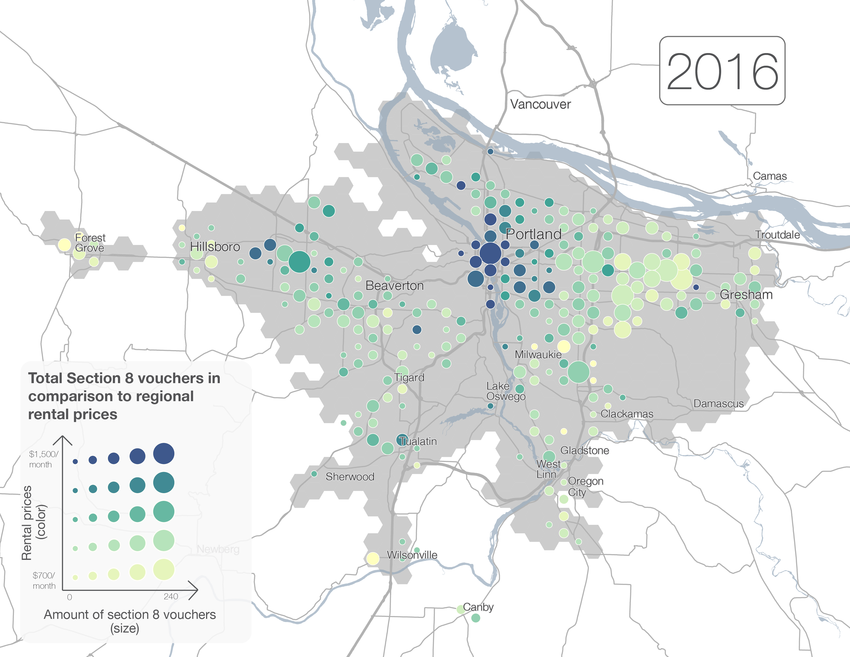 Map of Section 8 vouchers in the Portland area, 2016
