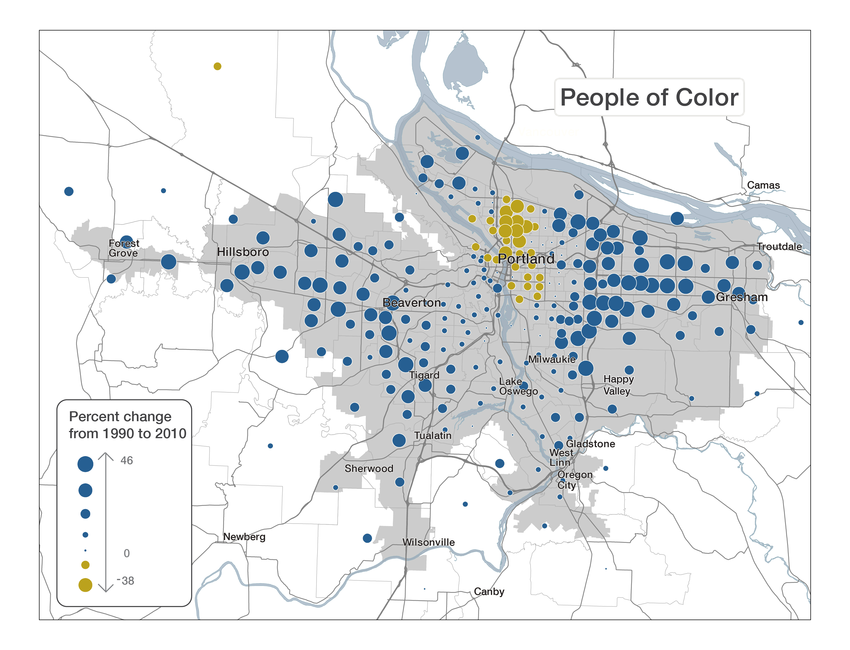 Map of change in populations of color in the Portland metro from 1990 to 2010