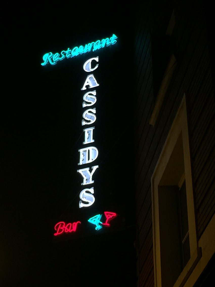 marquee sign for Cassidy's Restaurant and Bar