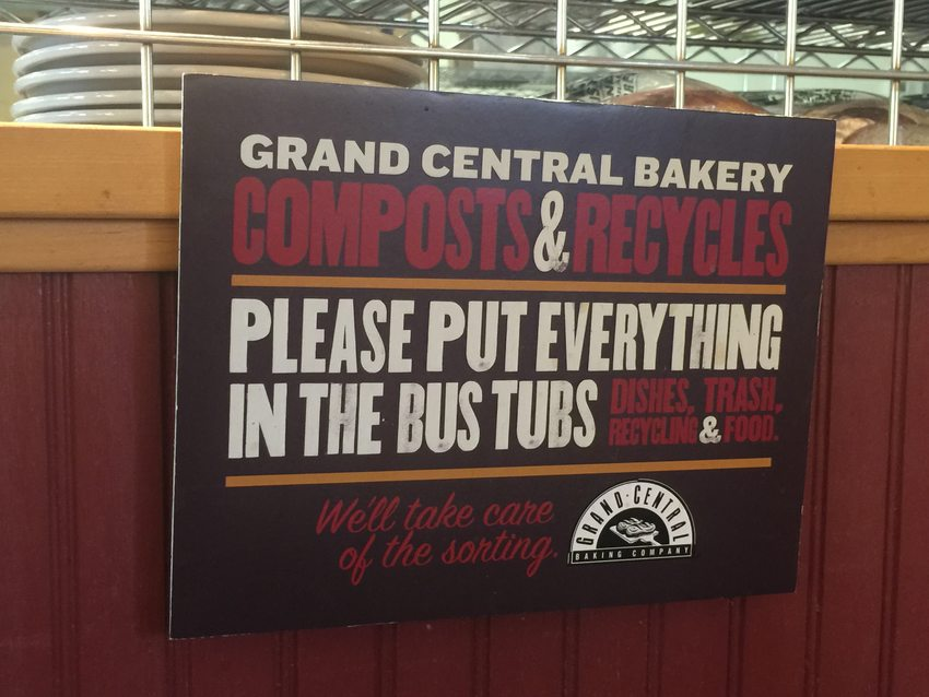 sign in Grand Central Bakery informing customers of their composting and recycling practices