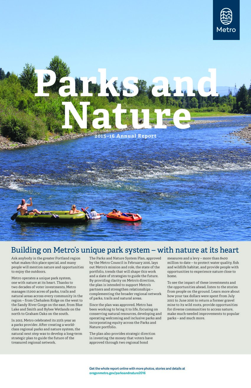 photo of cover of Metro Parks and Nature Annual Report 2015-16