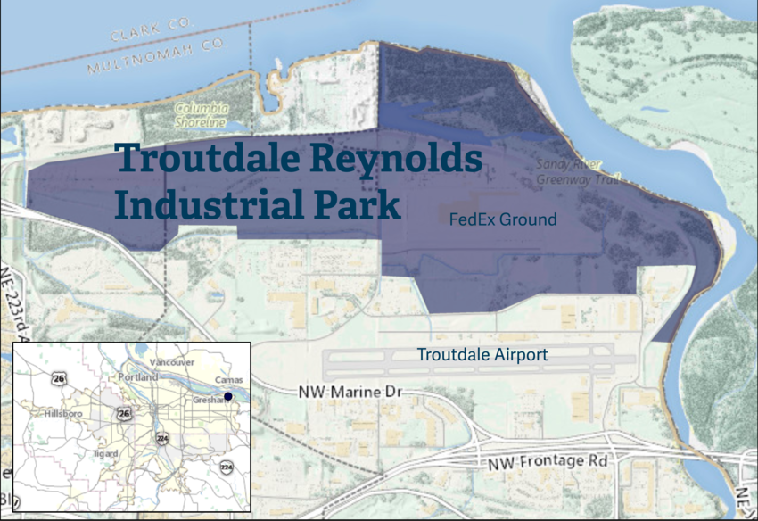 Troutdale Reynolds Industrial Park map
