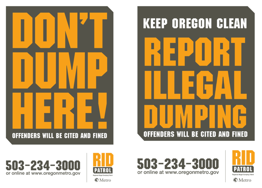 image of two RID signs: Don't dump here, Report illegal dumping