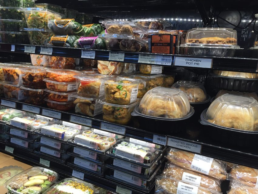 Plastic packaging in a grocery store