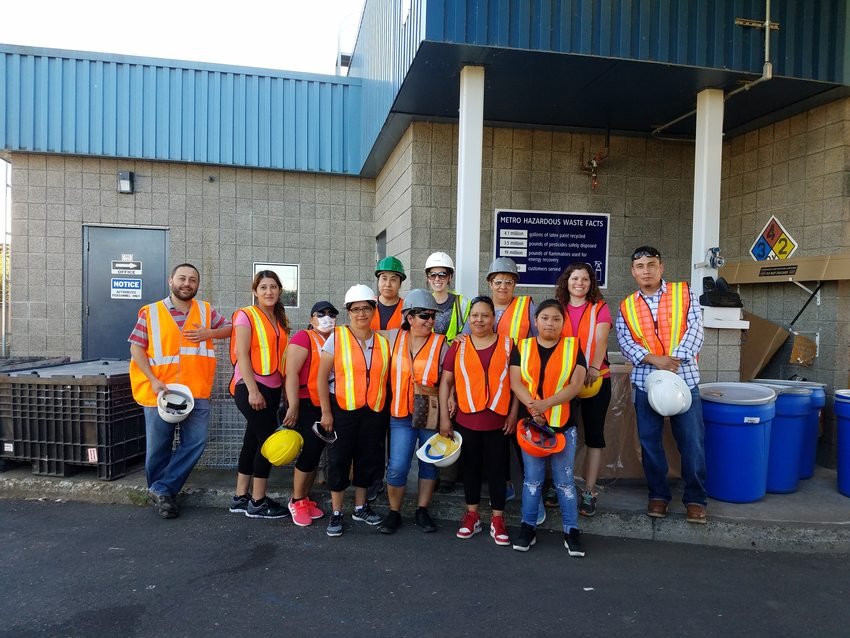 Photo of tour participants and Metro employees at Metro Central transfer station