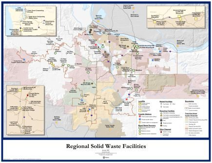 map of regional solid waste facilities in greater Portland