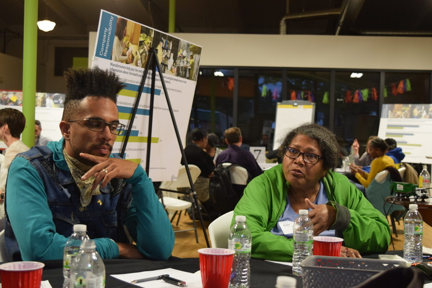 Participants share their thoughts during a forum that took place at The Rosewood Initiative in East Portland.