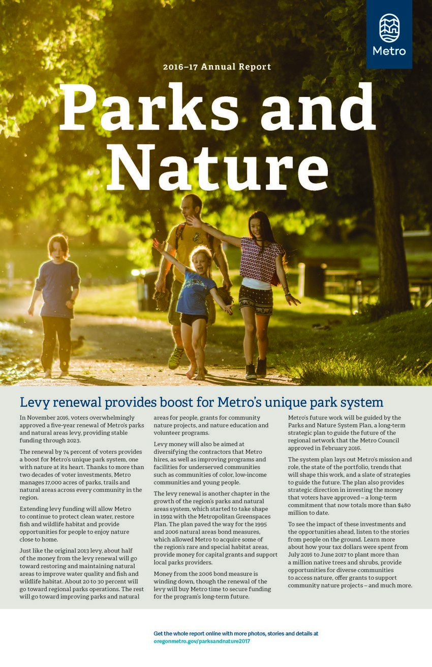 image of cover of Parks and Nature Annual Report 2016-17