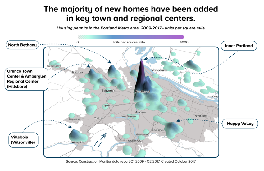 Map indicating most new homes have been added in key town and regional centers