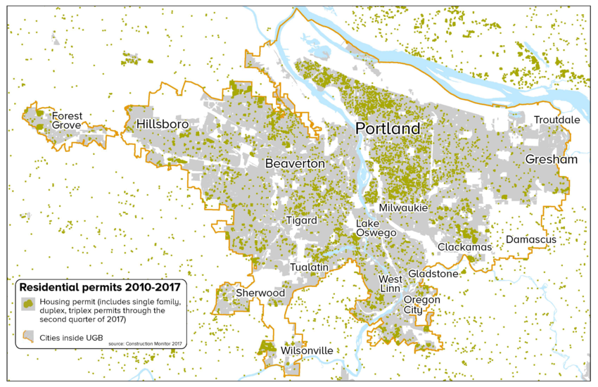 Map of residential permits from 2010 to 2017