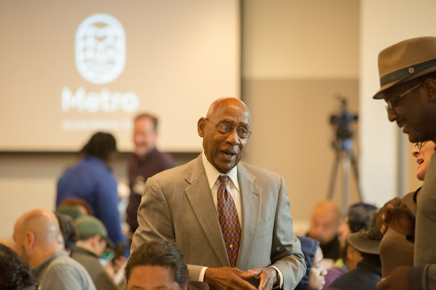 Former Metro Councilor Ed Washington speaking to participants at forum