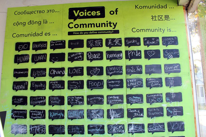 a poster with handwritten definitions about what community means to people
