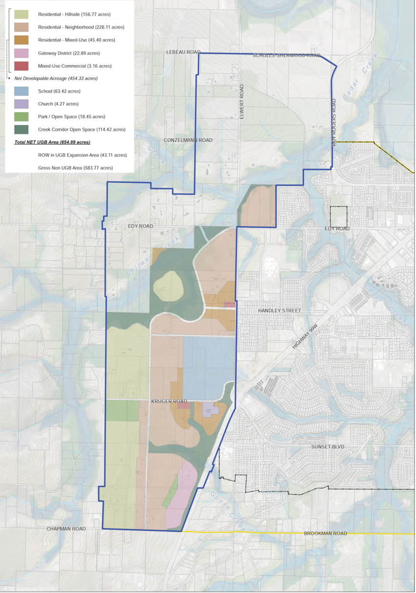 map of proposed UGB expansion area in Sherwood
