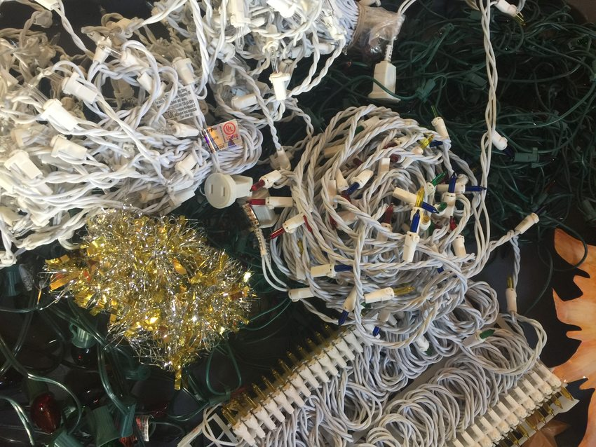 coiled up holiday string lights
