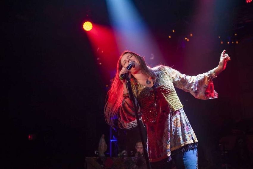 "Kelly McIntyre performing as Janis Joplin in the Broadway musical ""A Night with Janis Joplin"""